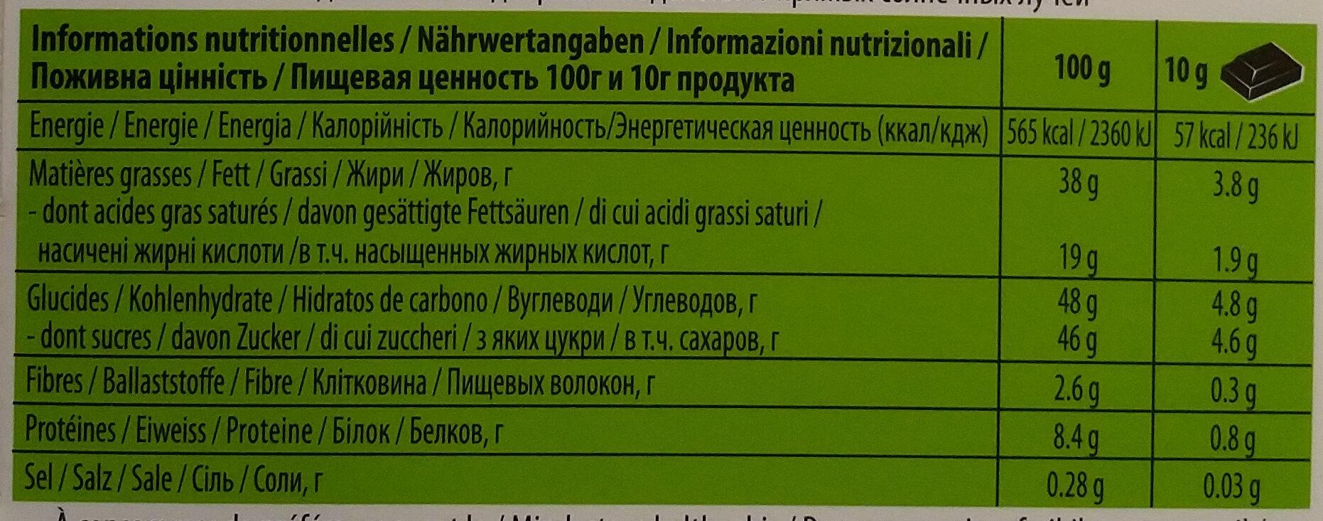 Chocolat Au Lait Aux éclats De Noisettes 100g Villars - Informations nutritionnelles - fr