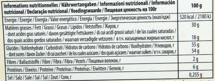 Chocolat Lait Orange - Nutrition facts - fr