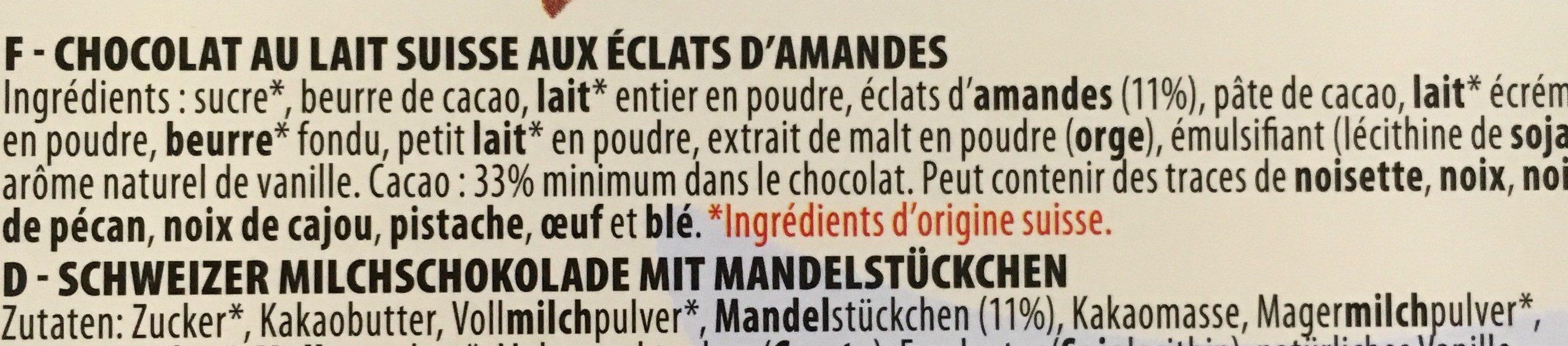 Chocolat lait amandes - Ingredients
