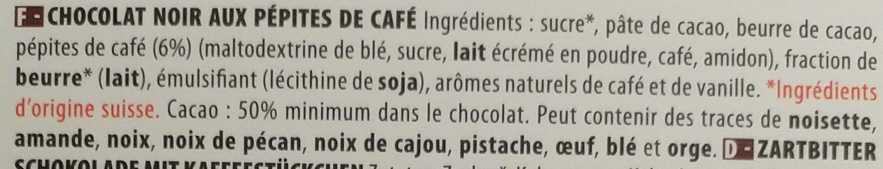 Chocolat Noir Café - Ingredients - fr