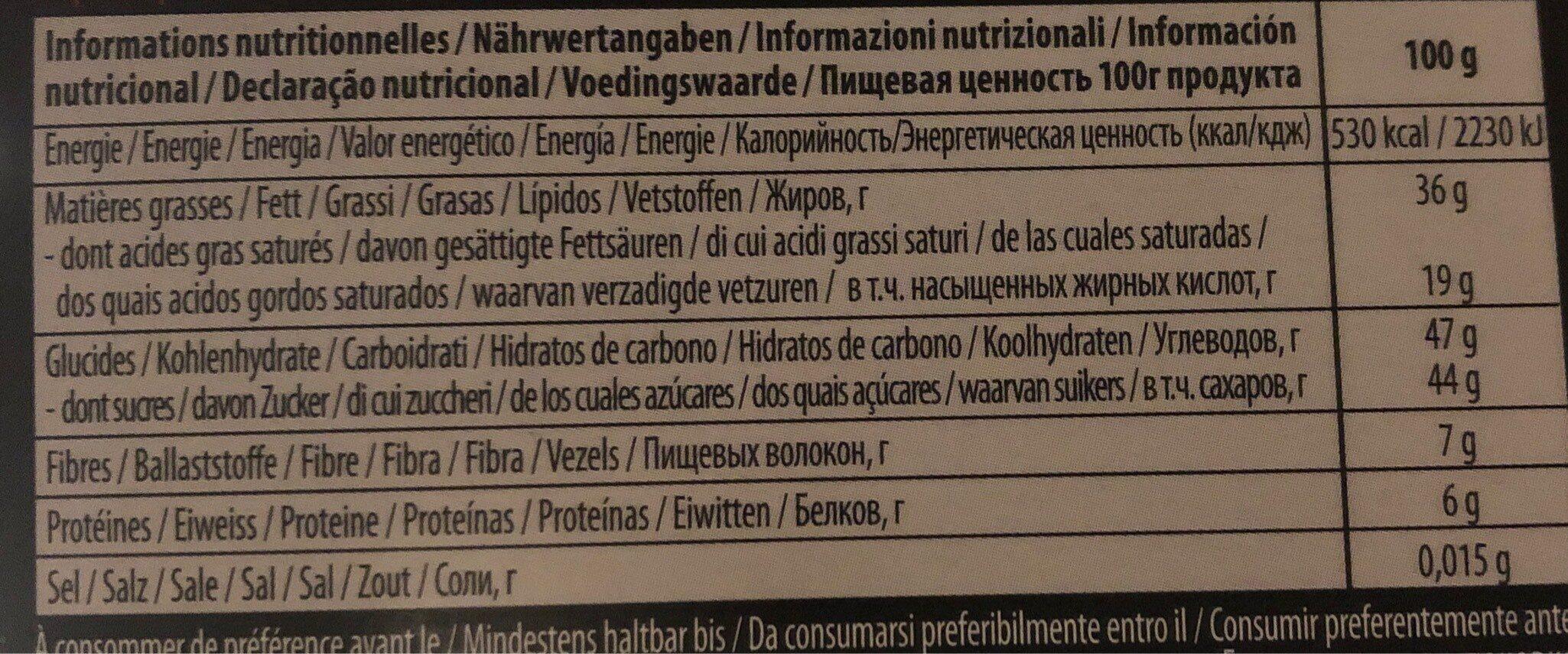 PUR CHOCOLAT SUISSE NOIR Amandes - Informação nutricional - fr