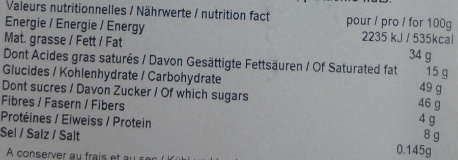 Bonbons de chocolat - Informations nutritionnelles