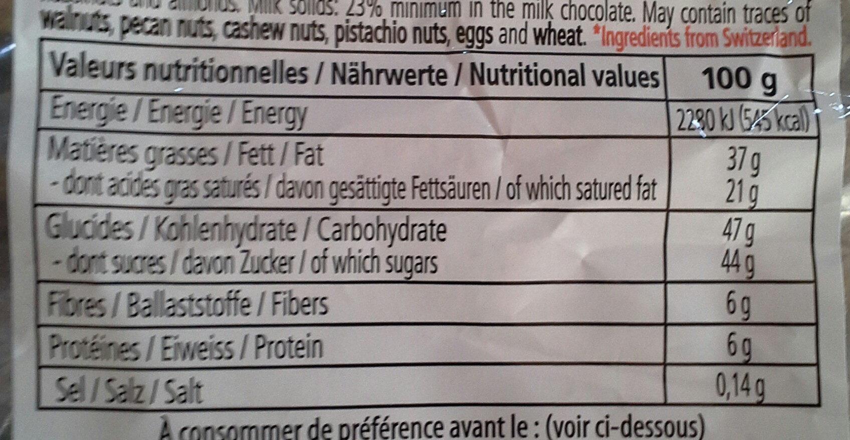Assortiment de minis chocolats lait et noir - Informazioni nutrizionali - fr