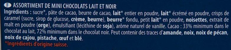 Les Minis Chocolats Lait & Noir Assortis - Ingredientes - fr