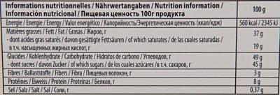 Chocolat au lait noisettes et biscuits - Nutrition facts