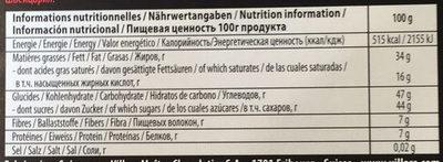 Chocolat noir amandes & orange - Voedingswaarden