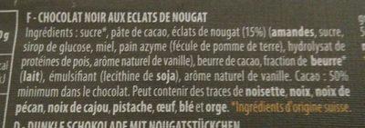 Chocolat noir suisse au nougat - Ingredients