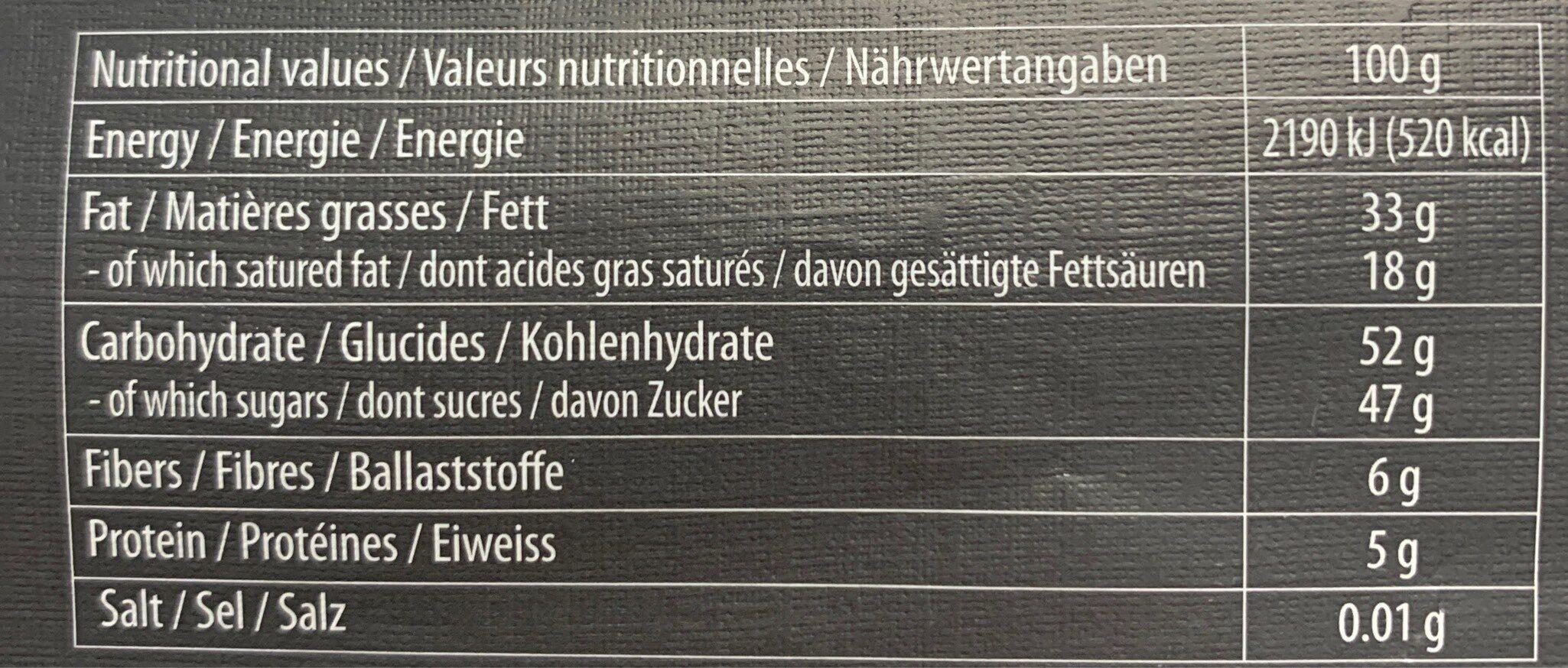 Chocolat noir suisse au nougat - Nutrition facts