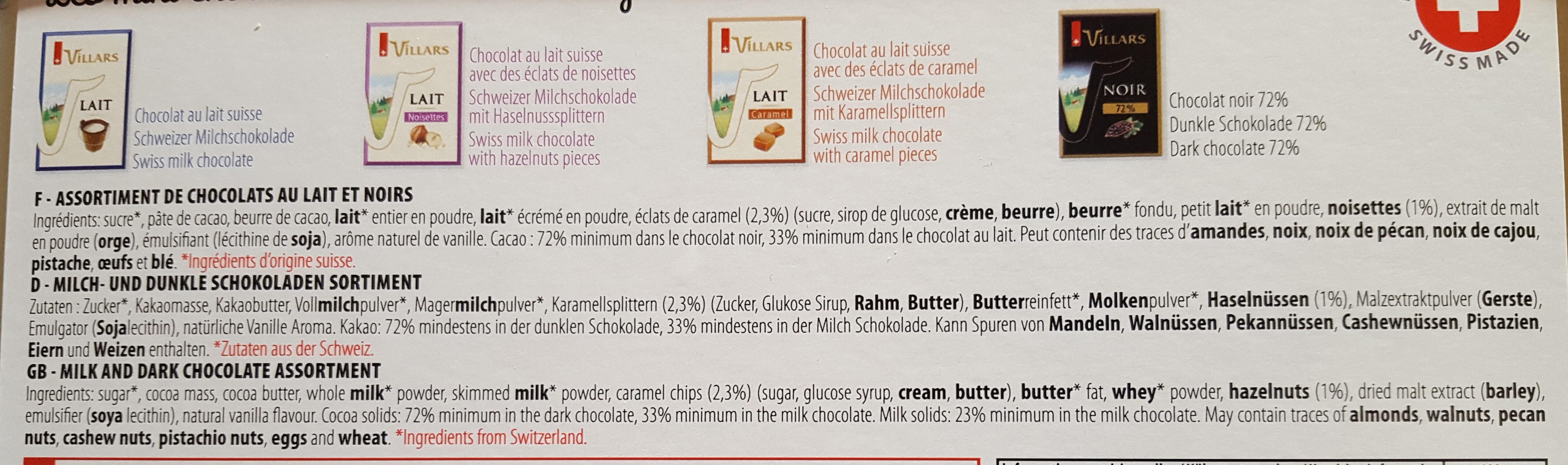 Les mini chocolats suisses - Ingrediënten - fr