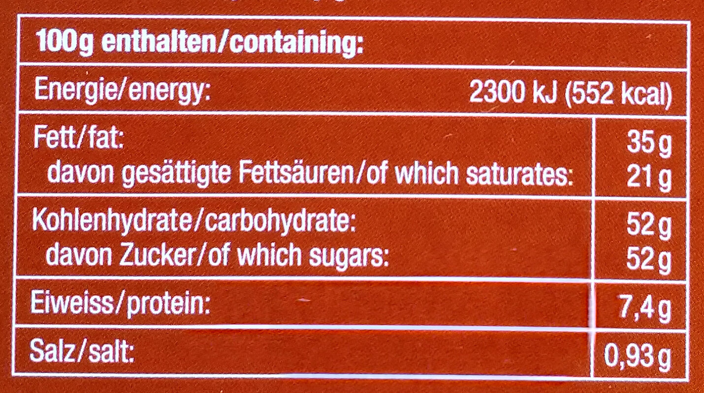 Caramel & Salz Milch schokolade - Voedingswaarden - de