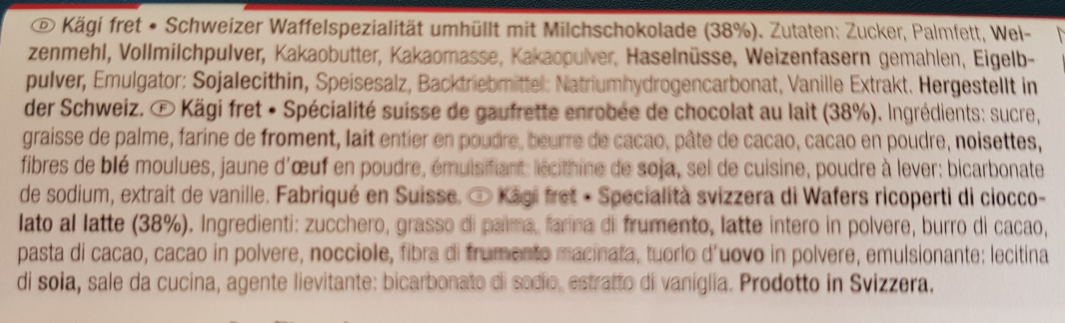 Kägi Fret - Ingredienti - fr