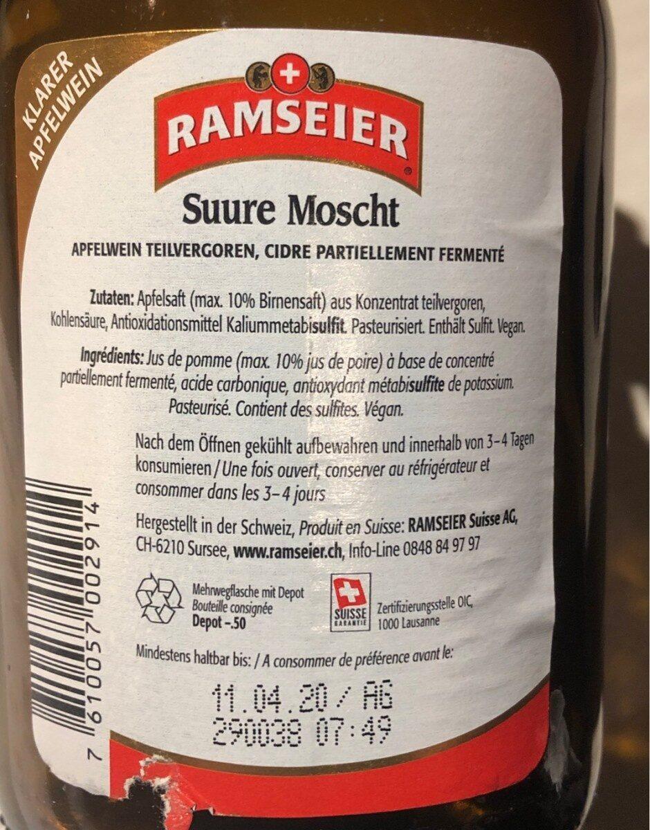 Ramseier Suure Moscht - Product - fr