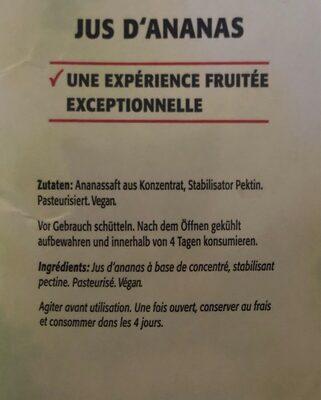 Jus d'ananas premium - Ingrédients
