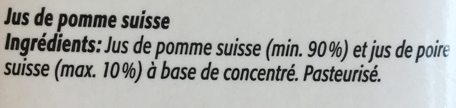 Jus de Pomme Suisse - Ingredients - fr
