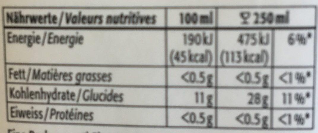 100% jus de pomme Suisse - Valori nutrizionali - fr