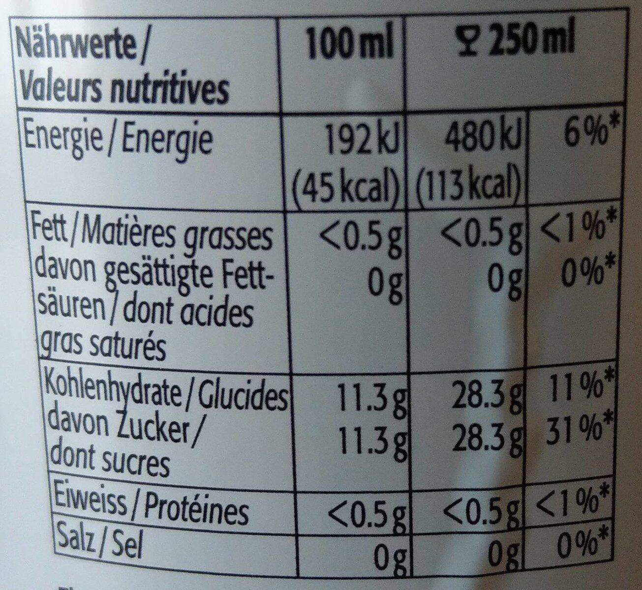 HOCHSTÄMMER, obsaft naturtrüb - Valori nutrizionali - fr