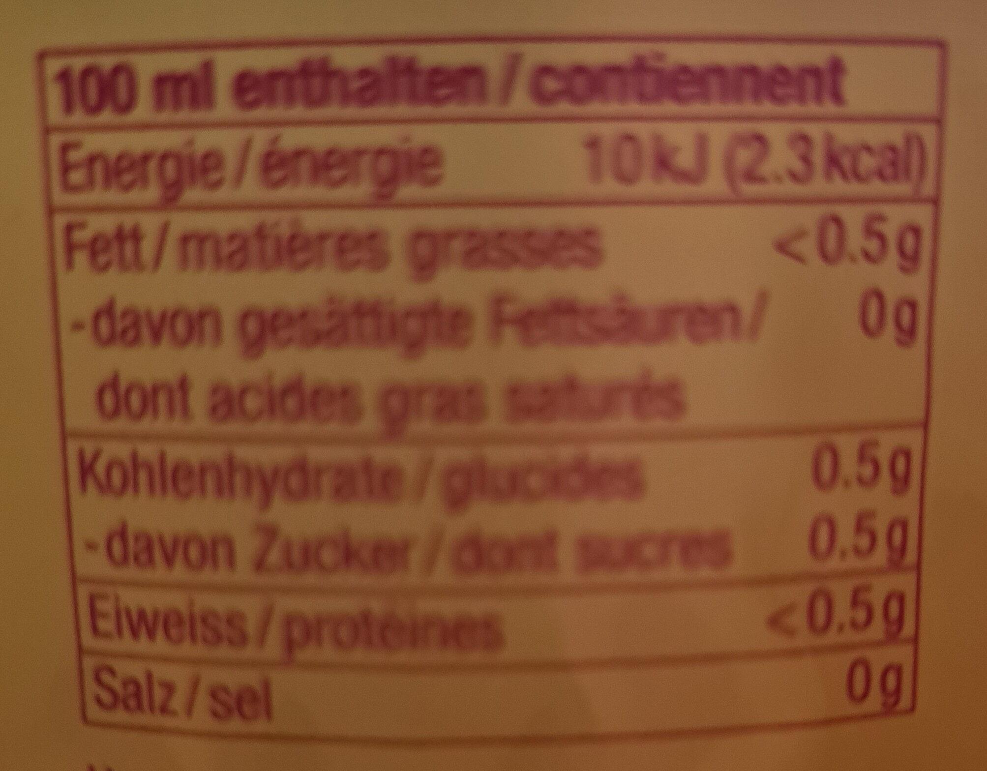 Sinalco Zero - Nutrition facts - fr