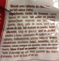 Biscuit avec tablette de chocolat au lait suisse - Ingredienti - fr