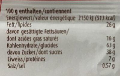 Biscuit avec tablette de chocolat au lait suisse - Valori nutrizionali - fr