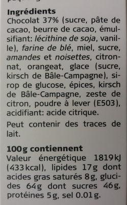 Läckerli Huus au chocolat - Ingrediënten - fr