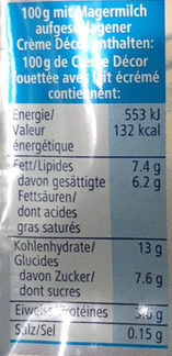 Crème Décor - Valori nutrizionali - fr