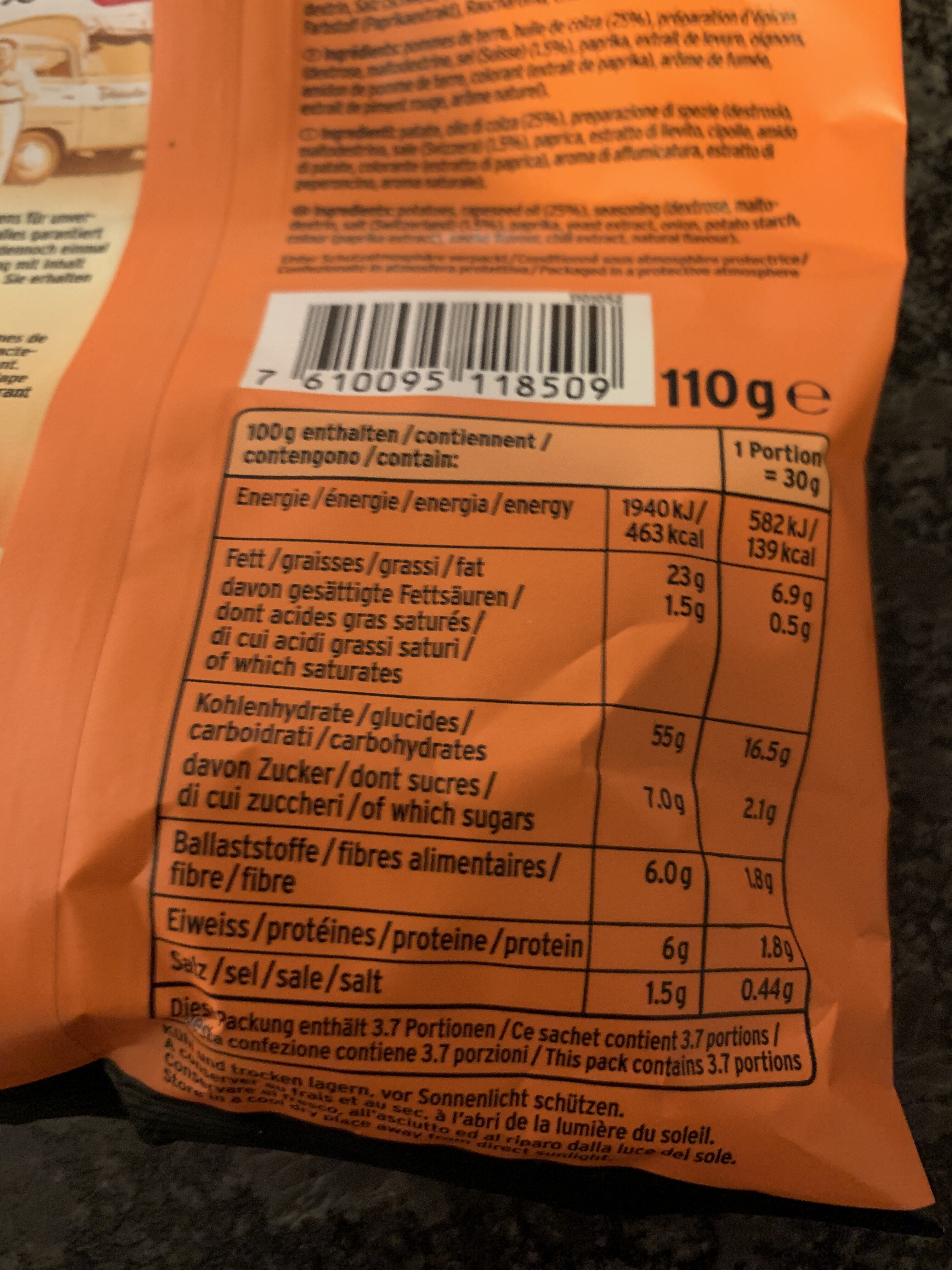 Extra crunchy chips - Informations nutritionnelles