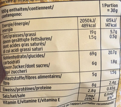 Multigrain Snacks Original - Informations nutritionnelles