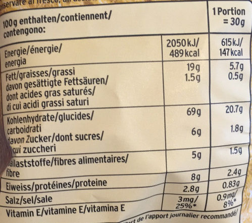 Multigrain Snacks Original - Nutrition facts - fr