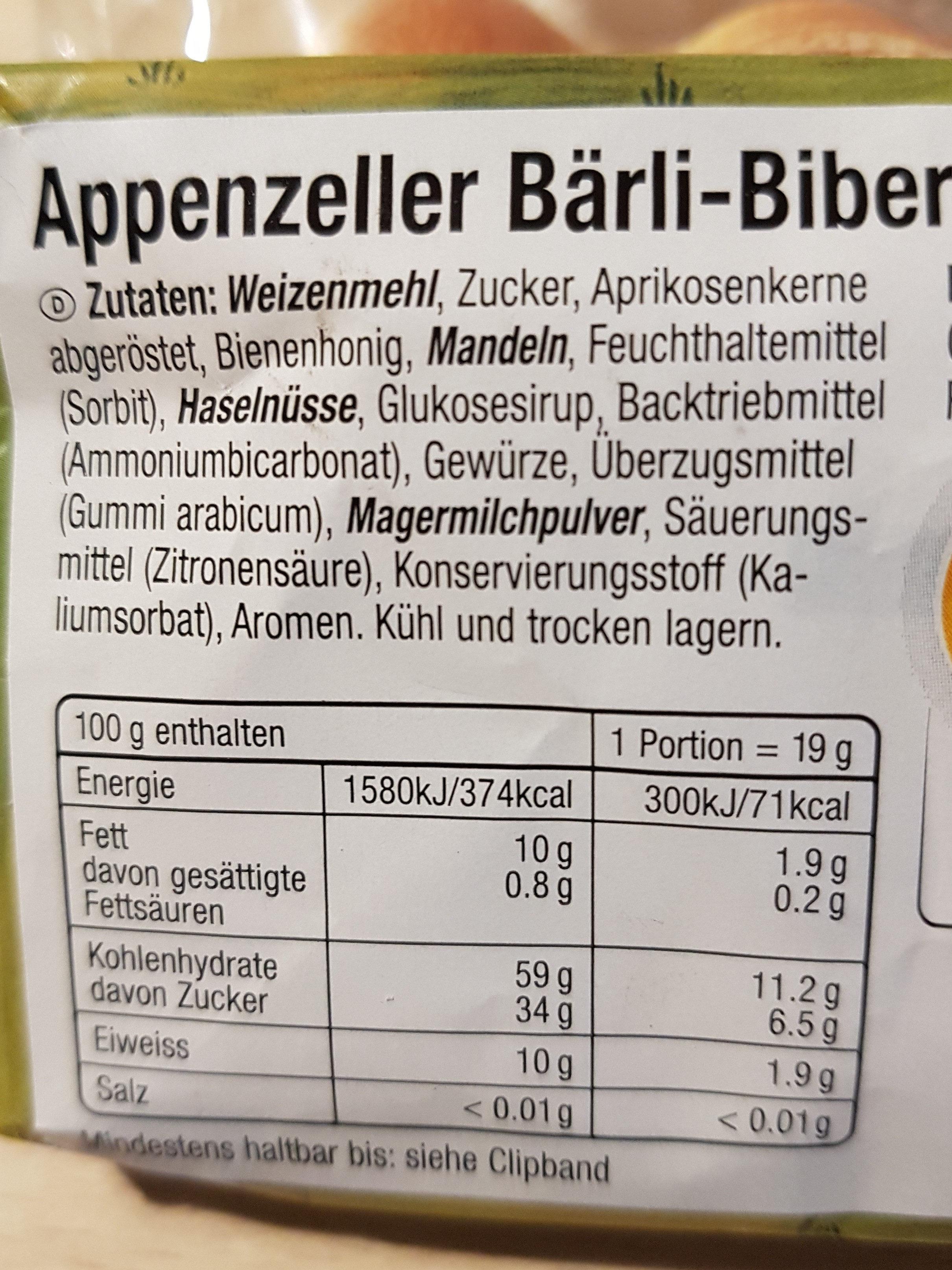 Appenzeller Baerli-Biber Minis 228 GR, 2 Sachets - Ingredienti - fr