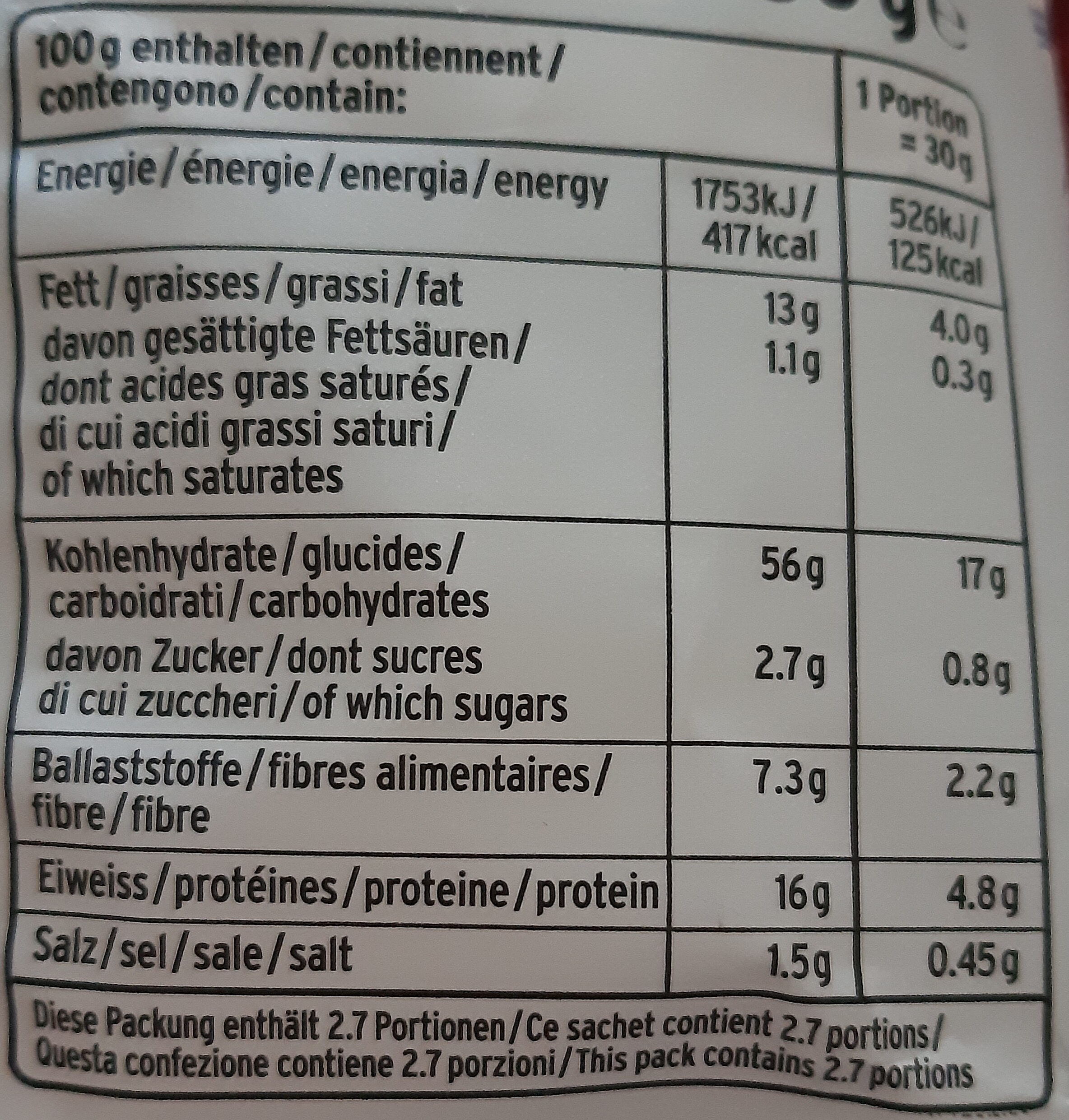 Hummus Creamy Herbs Snack - Nutrition facts - en