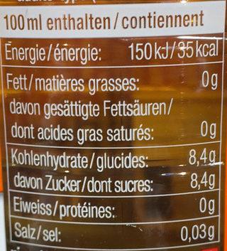 Rivella pêche - Nutrition facts - fr
