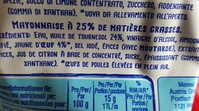 Thomy Mayonnaise 25% matière grasse - Ingrédients
