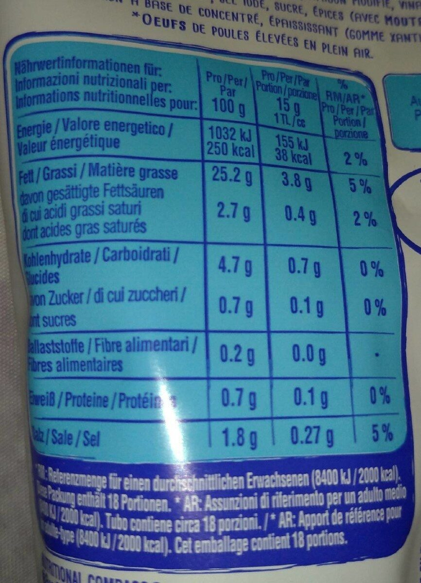 Thomy Mayonnaise 25% matière grasse - Informations nutritionnelles