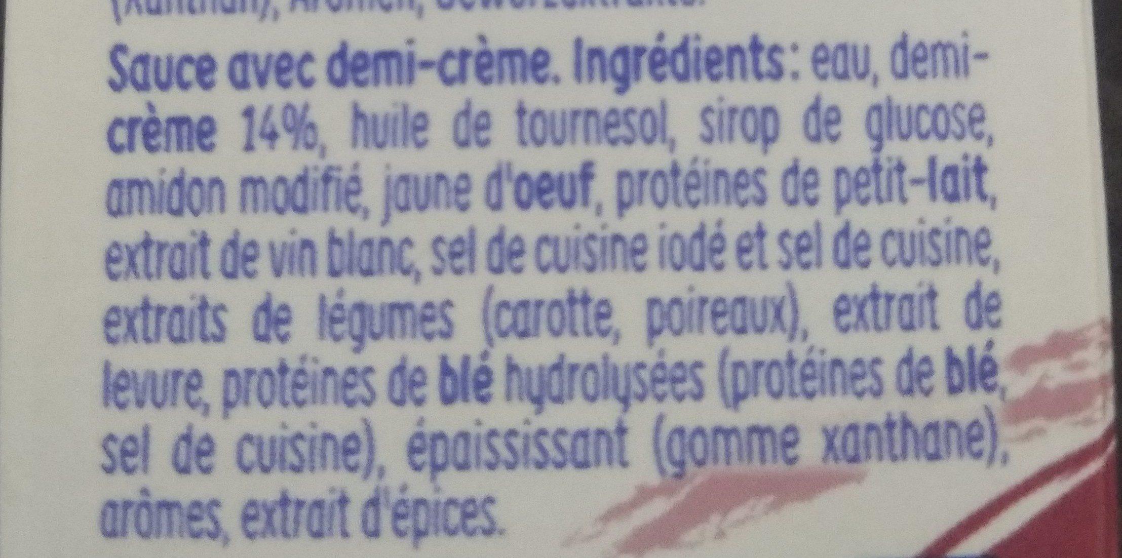 Sauce à la crème - Ingredients