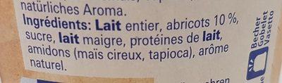 Yogourt avec abricots du Valais - Ingrediënten - fr