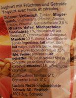 Hirz Birchermüesli Joghurt - Ingredients