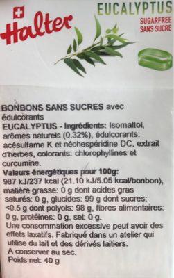 Bonbon Halter Sans Sucre Eucalyptus - Informations nutritionnelles - fr
