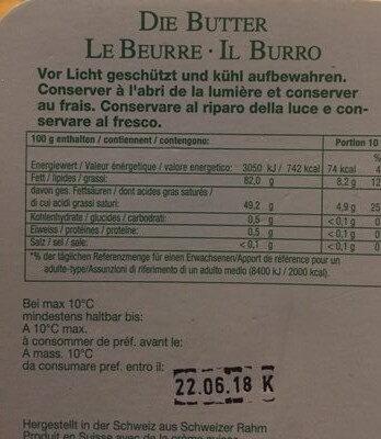 Le beurre - Ingredients - fr