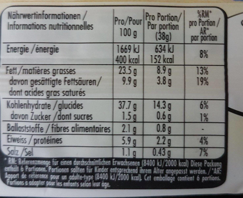 Kuchenteig - Nutrition facts - fr