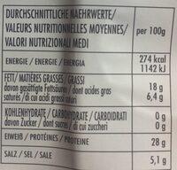 Prosciutto Crudo - Valori nutrizionali - fr
