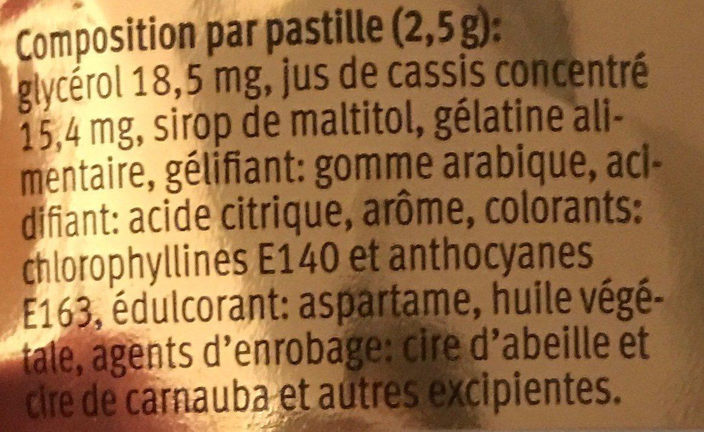 Cassis pastille pour la gorge - Ingrédients - fr