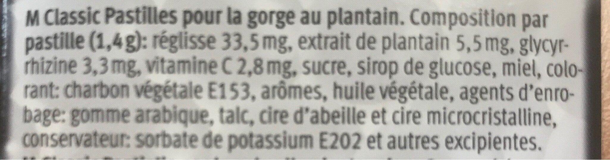 Pastilles pour la gorge au plantain - Ingrédients