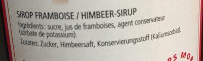 Sirop Framboise Au Jus Fruit Morand 1 L, 1 Litre - Ingredienti - fr