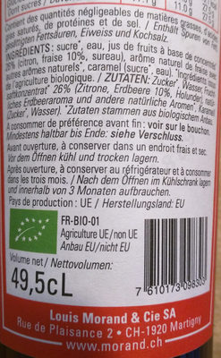 Sirop Bio Fraise - Ingredients - fr