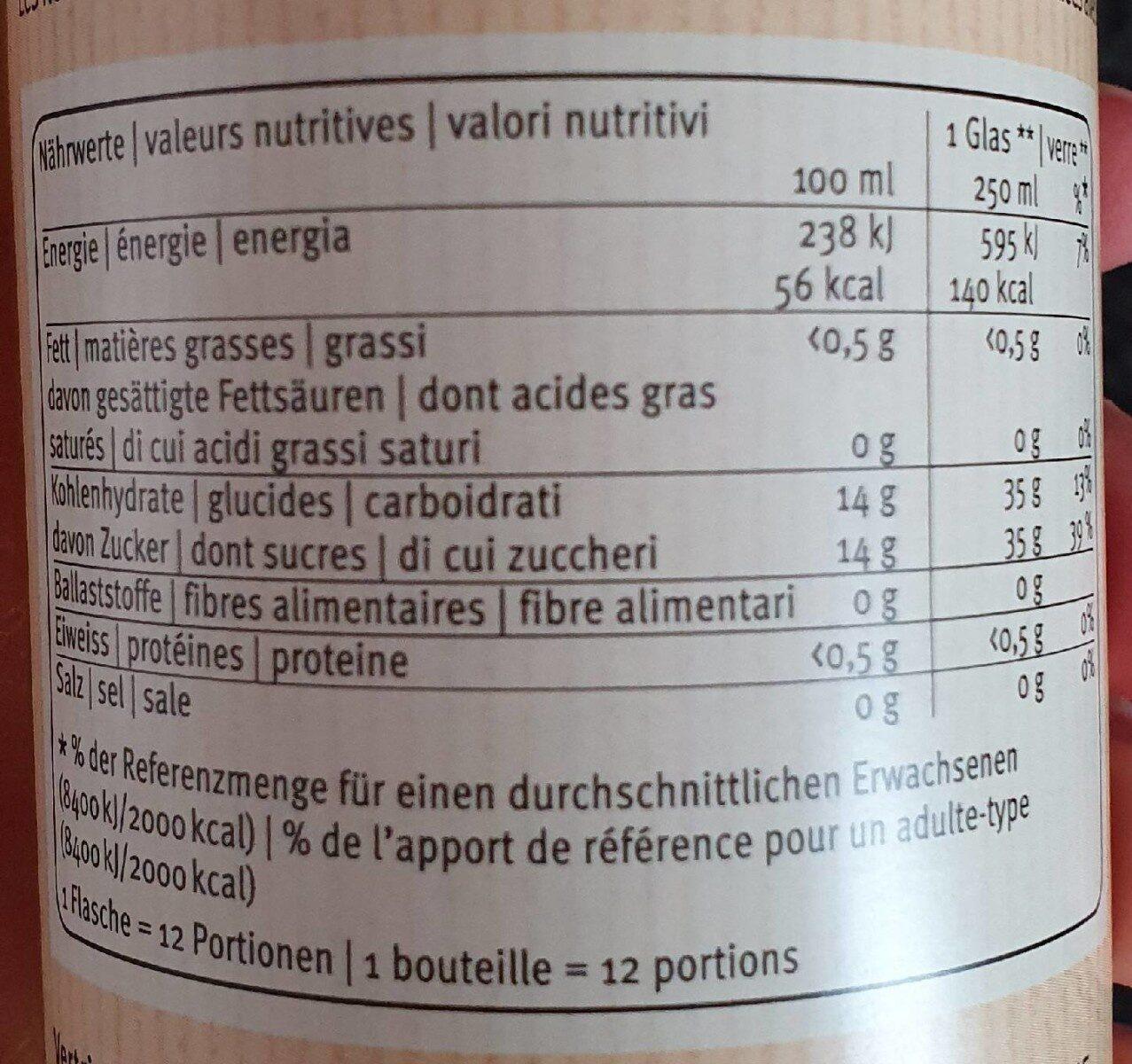 Sirop de fleurs de sureau - Informations nutritionnelles - fr