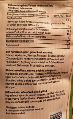 Necta Abricot Tendre Denoyaute - Informations nutritionnelles - fr
