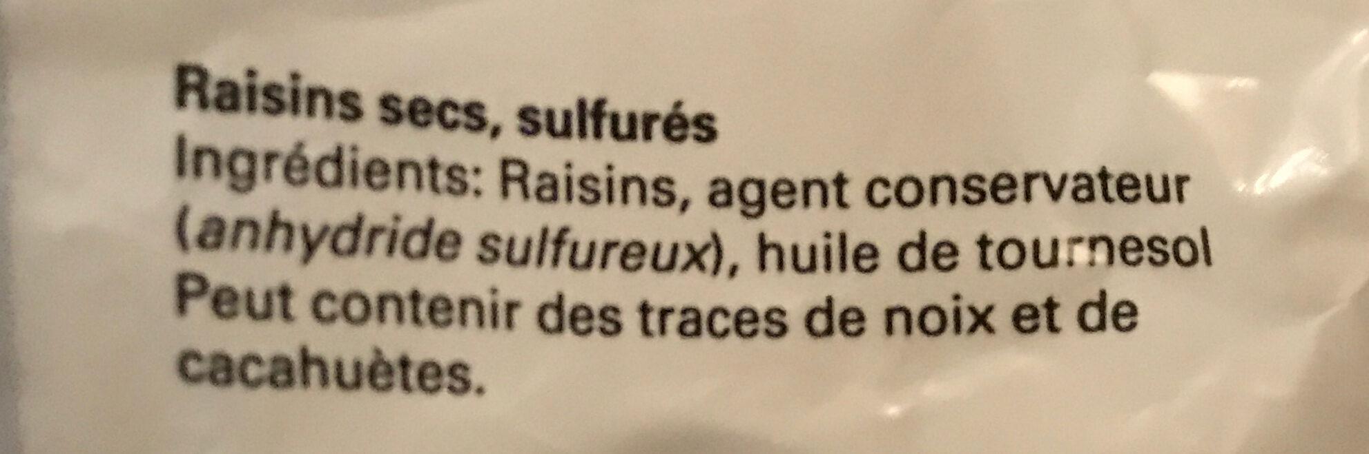 Raisins Golden - Ingredienti - fr