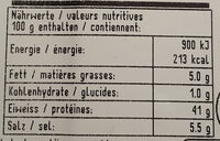 Viande Séchée - Nutrition facts - fr