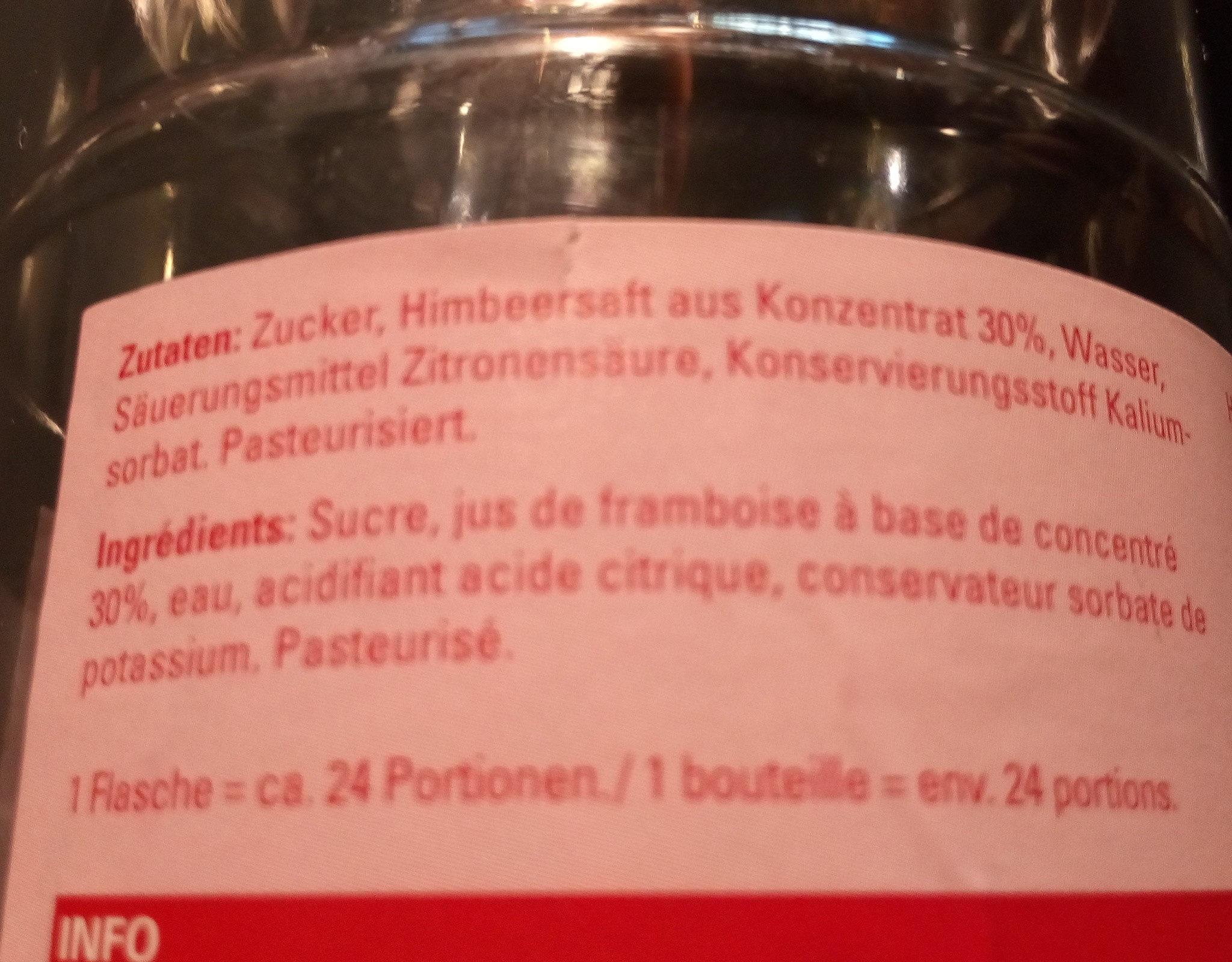 sirop de framboise - Ingredients