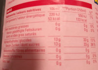 sirop de framboise - Nutrition facts